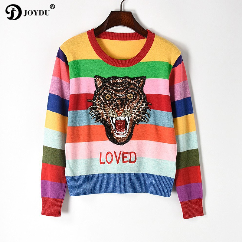 Runway Wool Sweater For Women 2017 New Design Tiger Head Sequins Embroidery Rainbow Striped Winter Vintage Knit Pullover Jumper