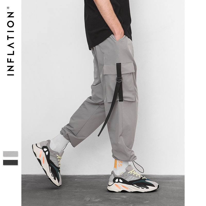 INFLATION 2019 Elastic Waist Patchwork Track Pants Mens Hip Hop Windbreaker Streetwear Trousers Harem Hip hop Swag Pants 8855W