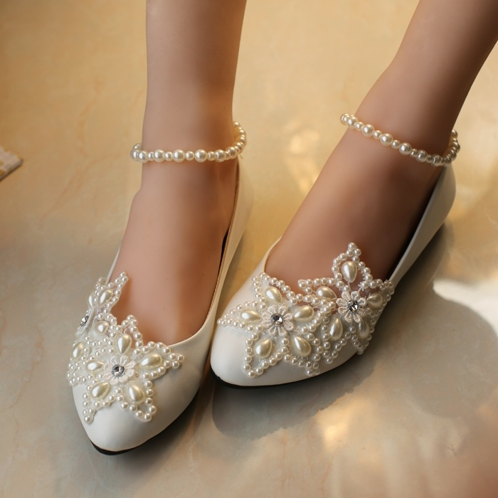 Shoes Women Flats White Pearl Rhinestone Beaded Anklet Kids Wedding Shoes Children Flats Girls Shoes Plus Size 43 Ladies Shoes