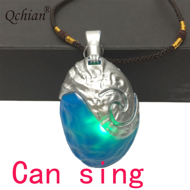 Movie Ocean Romance Moana Green Pendant Jewelry Necklace Beautiful Gift For Kids LED Glowing Music