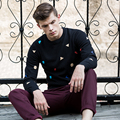 New promotion in the fall and winter of 2016 men leisure fashion sweater long-sleeved color jacquard sweater