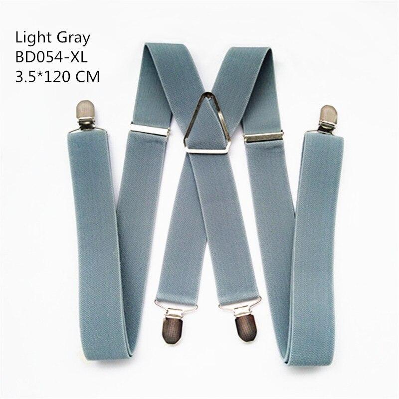 Одноцветные подтяжки унисекс для взрослых, мужские XXL, большие размеры, 3,5 см, ширина, регулируемые эластичные, 4 зажима X сзади, женские брюки, подтяжки, BD054 - Цвет: Light grey-120cm