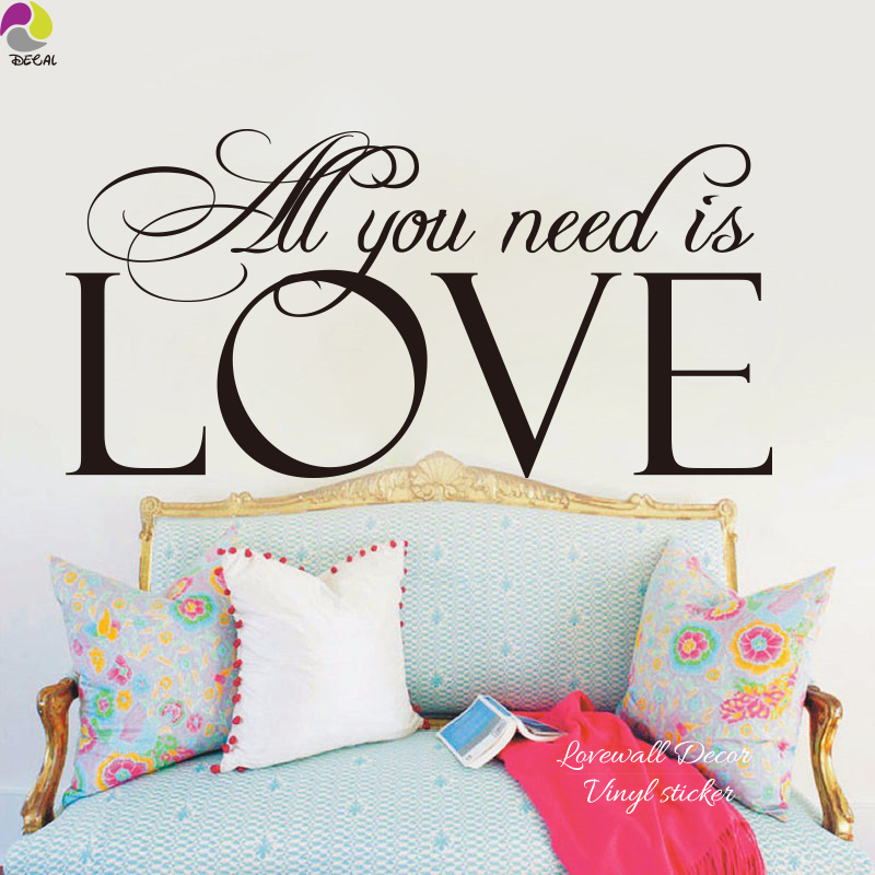 All You Need Is Love Quote the Beats Song Lyrics Wall Sticker Bedroom Family Love Inspiration Quote Decal Baby Nursery Vinyl DIY image