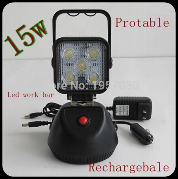 6pcs/lot Battery powered Portable led work lights12v 24v Rechargeable LED working light With Strong Magnet Base