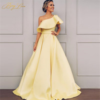 BeryLove Elegant One Shoulder Ruched Yellow Evening Dress 2020 Satin Evening Belt Fashion Prom Dress Zip Formal Gown Party Long