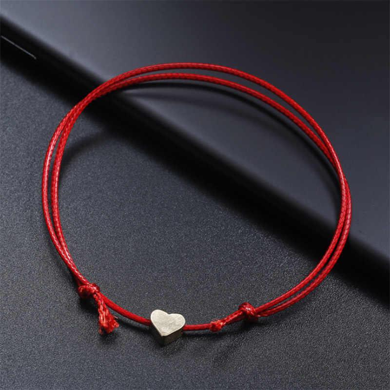 หัวใจสีทองสร้อยข้อมือเงิน Handmade เครื่องประดับ Multicolor เชือก String Lucky สร้อยข้อมือเด็ก