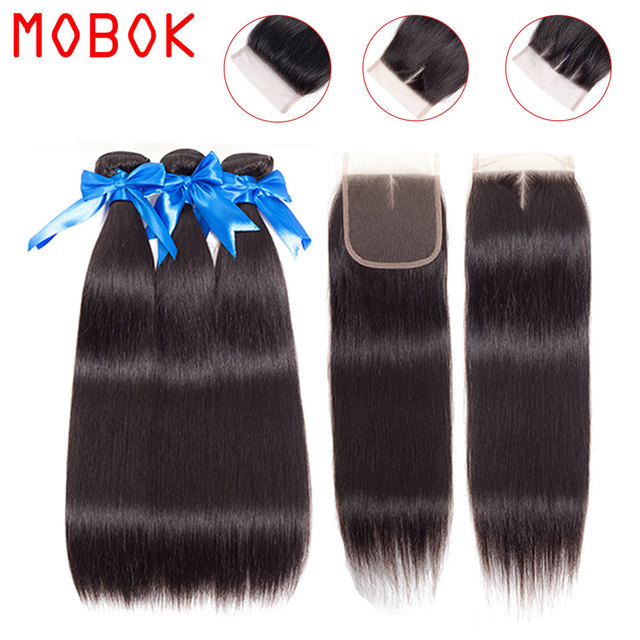 MOBOK Brazilian Straight Hair Bundles With Lace Closure 4*4 Human Hair Extension Remy Brazilian Hair Weave Bundles with Closure