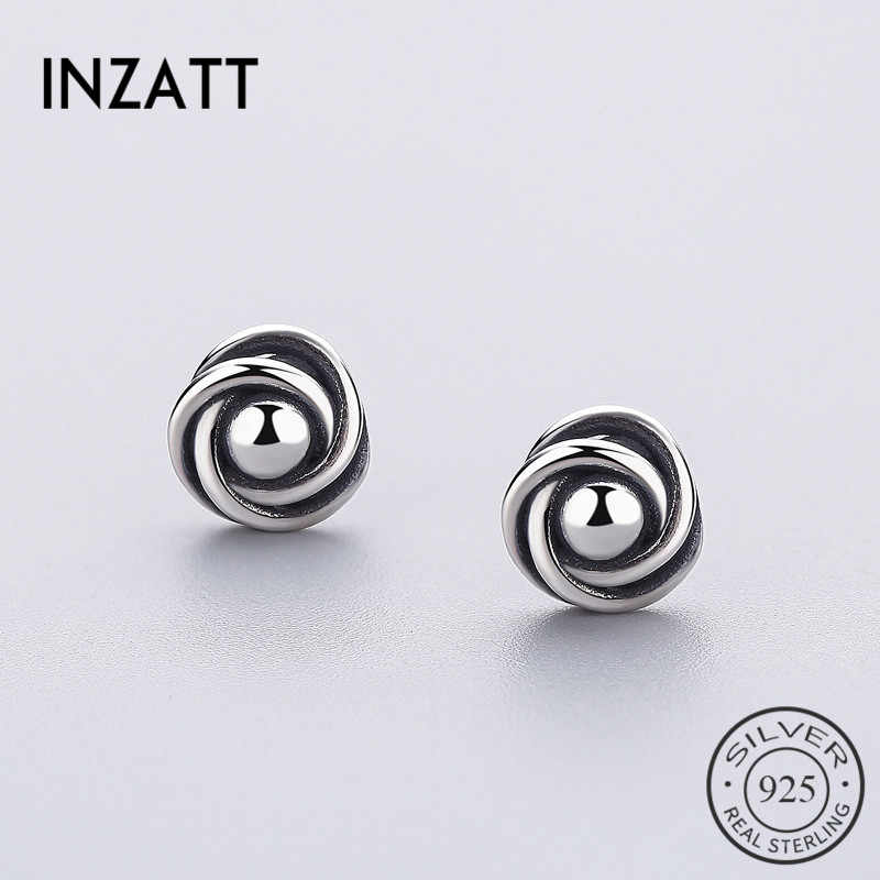 INZATT Vintage  Flower Stud Earrings Real 925 Sterling Silver For Women Party Anniversary Fashion Jewelry Charm AccessoriesGift