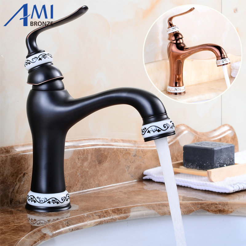 Newly Basin Faucet Brass & Porcelain Spout/Base Bathroom Faucets Hot Cold Mixer Tap Waterfall Faucets Rose Gold/Black 7313 free shipping newly wide waterfall spout vintage white marble body faucet black finish bathroom basin faucets brass taps gi662