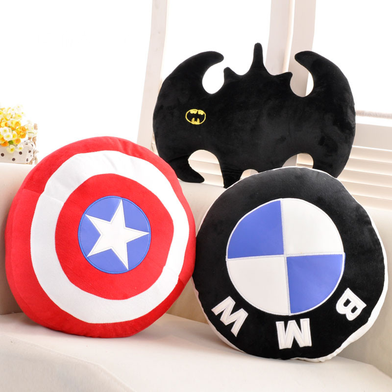 40cm avenger union pillow cushion us captain shield pillow batman modeling pillow cushion plush toy chic quality flamingo and lotus pattern flax pillow case(without pillow inner)