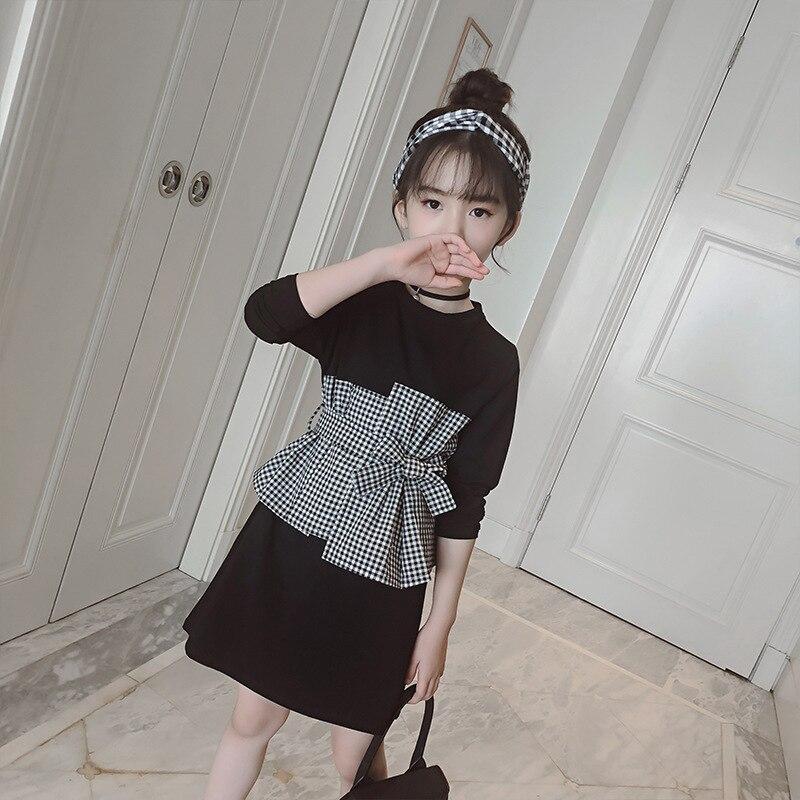 Школьное осеннее платье с бантом для малышей Одежда для маленьких девочек черные клетчатые Лоскутные хлопковые платья с длинными рукавами для девочек, весенняя одежда