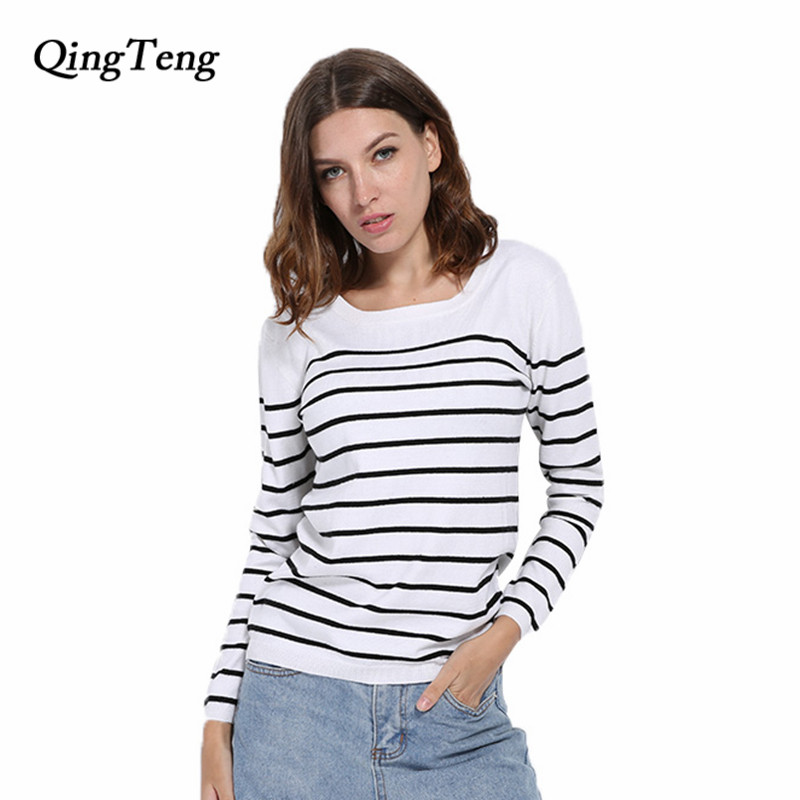 Hot Sale Women s Knitted Cashmere Sweater Stripe Black White Woman Winter Clothes Pullover Base Shirt