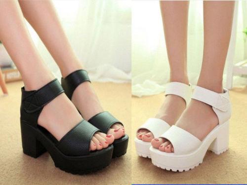 Mulheres Peep Toe Plataforma de Salto Alto Do Dedo Do Pé Aberto Gladiador Sandálias Botas Sapatos Robustos KJG00048964