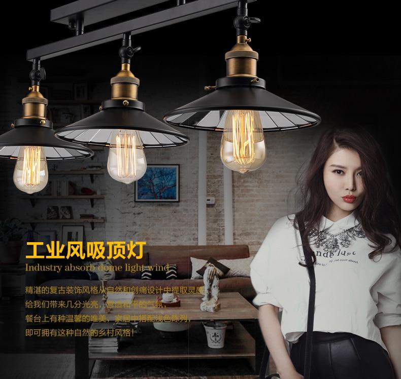 Moda vintage potkrovlje željezo stropna svjetiljka rasvjetni ormar - Unutarnja rasvjeta - Foto 4
