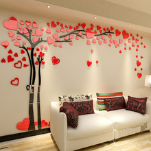 Hot selling loving heart tree shaped home decorative acrylic wall stickers 3D DIY