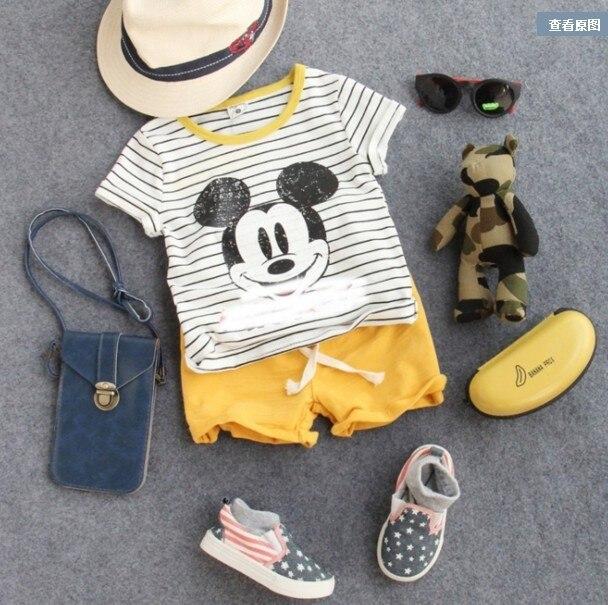 Новые 2016 летние мальчики мультфильм мышь полосатый с коротким рукавом футболка дети летняя мода майка мальчиков повседневная одежда