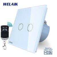 WELAIK Glass Panel Switch White Wall Switch EU Remote Control Touch Switch Light Switch 2gang2way AC110