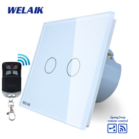 WELAIK Glass Panel Switch White Wall Switch EU Remote Control Touch Switch Light Switch 2gang2way AC110