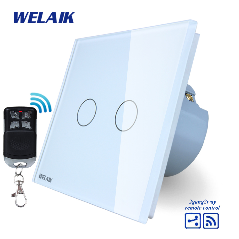 WELAIK Glass Panel Switch White Wall Switch EU remote control Touch Switch  Light Switch 2gang2way AC110~250V A1924CW/BR01 wall light touch switch 2 gang 2 way wireless remote control power light touch switch white and black crystal glass panel switch