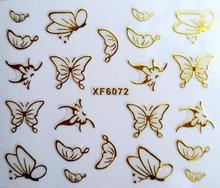 DIY gold butterfly design Water Transfer Nails Art Sticker decals lady women manicure tools Nail Wraps Decals