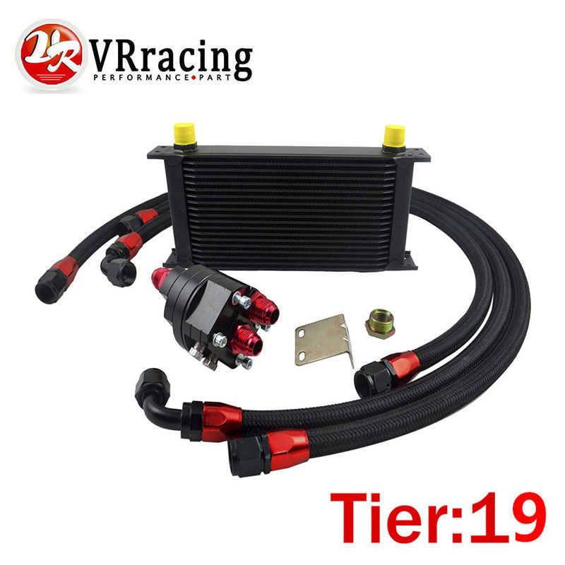 VR RACING - UNIVERSAL 19 ROWS ENGINE OIL COOLER+ALUMINUM OIL FILTER/COOLER RELOCATION KIT+3PCS NYLON BRAIDED HOSE+ADAPTER epman universal 10 row oil cooler kit with oil filter relocation kit for turbo race ep ok1012