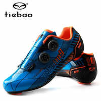 Tiebao Professional Carbon Fiber Cycling Shoes Men Racing Bike Road Shoes Self-Locking Athletic Bicycle Shoes Sapatilha Ciclismo