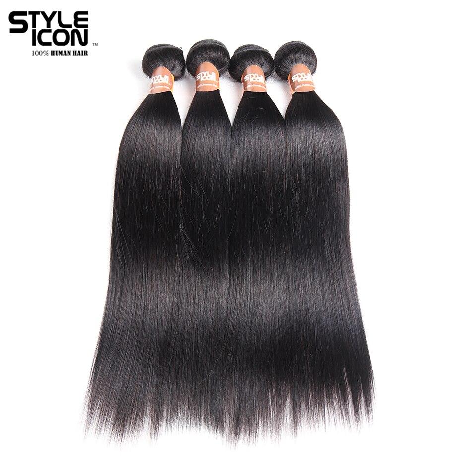 Styleicon Pre-colored Peruvian Straight Hair Bundles 4 Bundles Human Hair Weave Bundles Deal Non Remy 4 Bundles Straight Hair