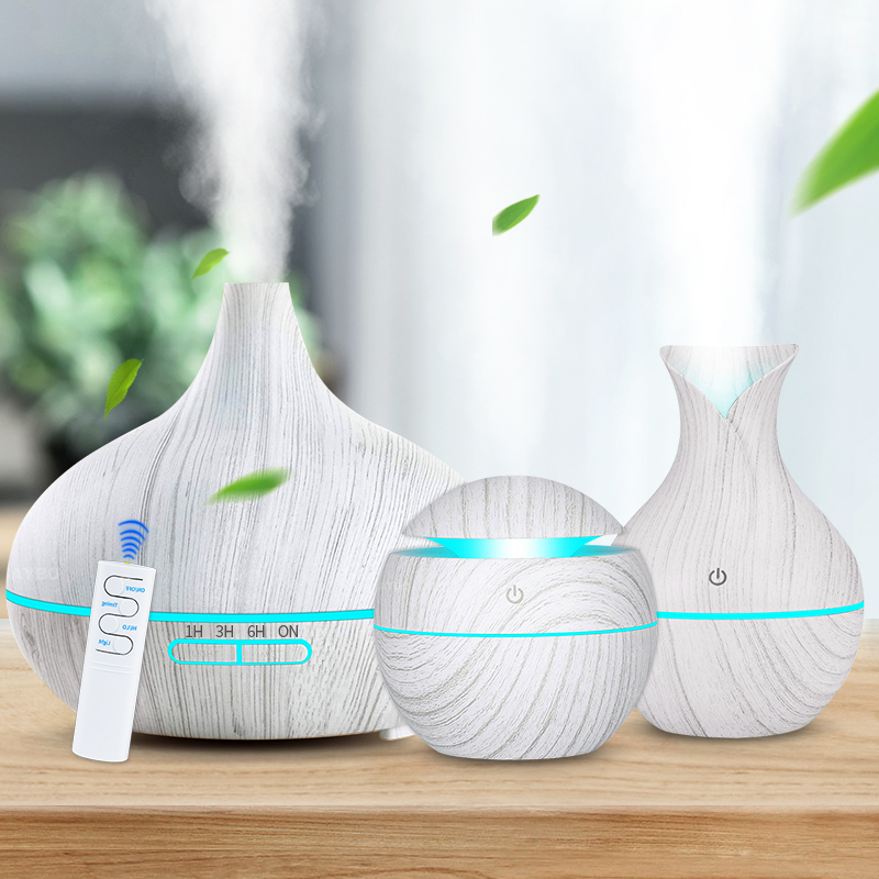 3-Piece Set White Wood Grain Air Humidifier Aroma Essential Oil Diffuser Ultrasonic Cool Mist Purifier 7 Color Change LED Night