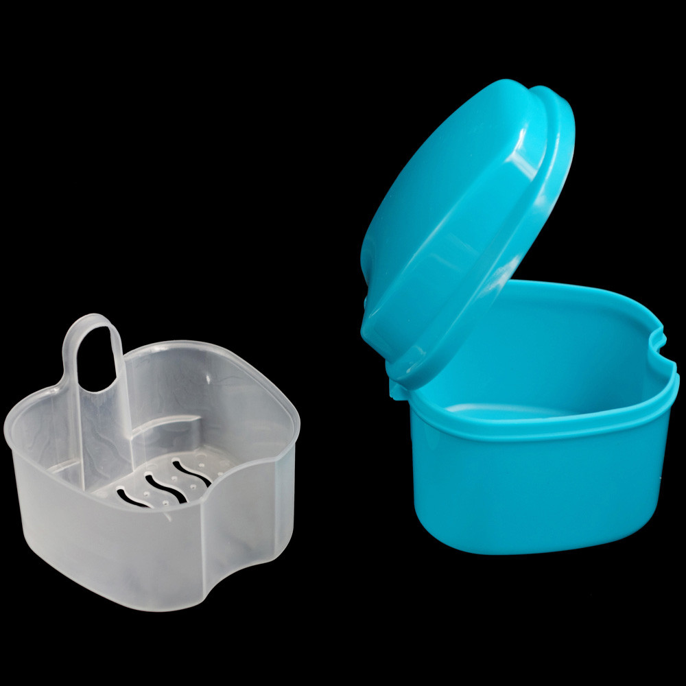 Denture Bath Box Case Dental False Teeth Storage Box With Hanging Net Container Plastic Artificial Tooth Organizer