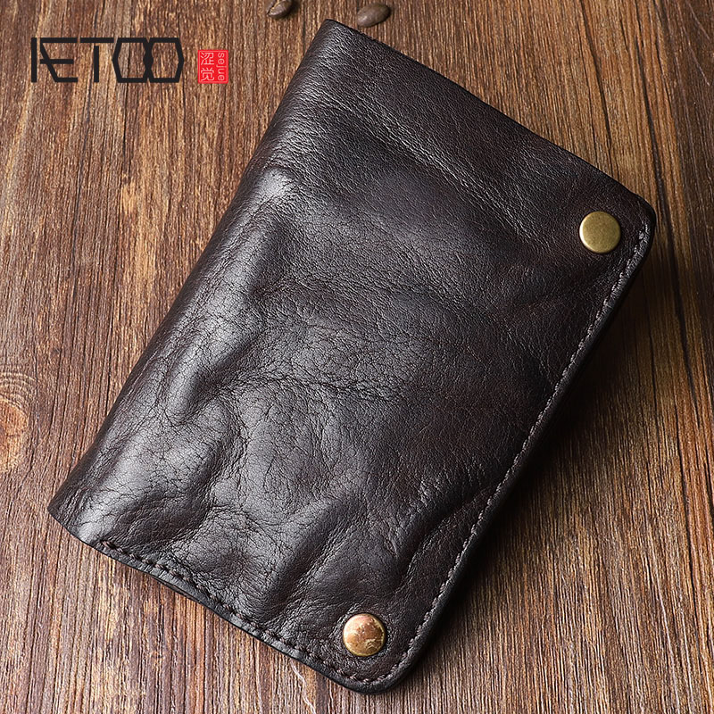 AETOO Original retro wrinkled leather vertical wallet men s short paragraph the first layer of leather