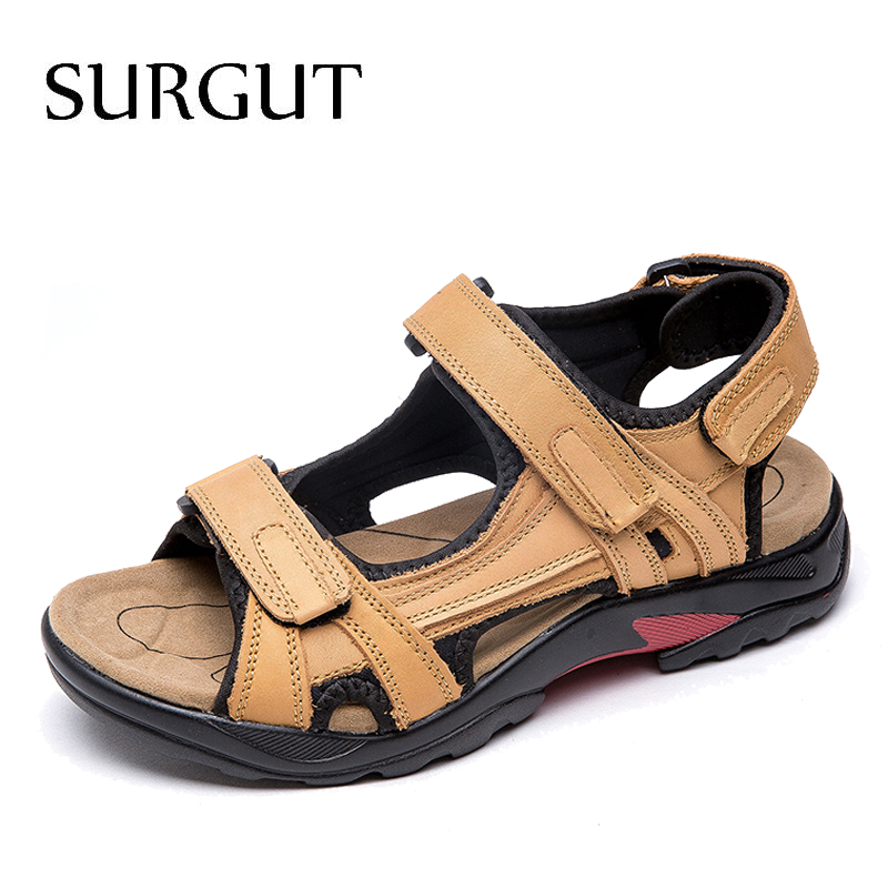 SURGUT Brand Classic Men Soft Sandals Comfortable Men Summer Shoes Leather Sandals Big Size Flats Sandals Men Roman Breathable