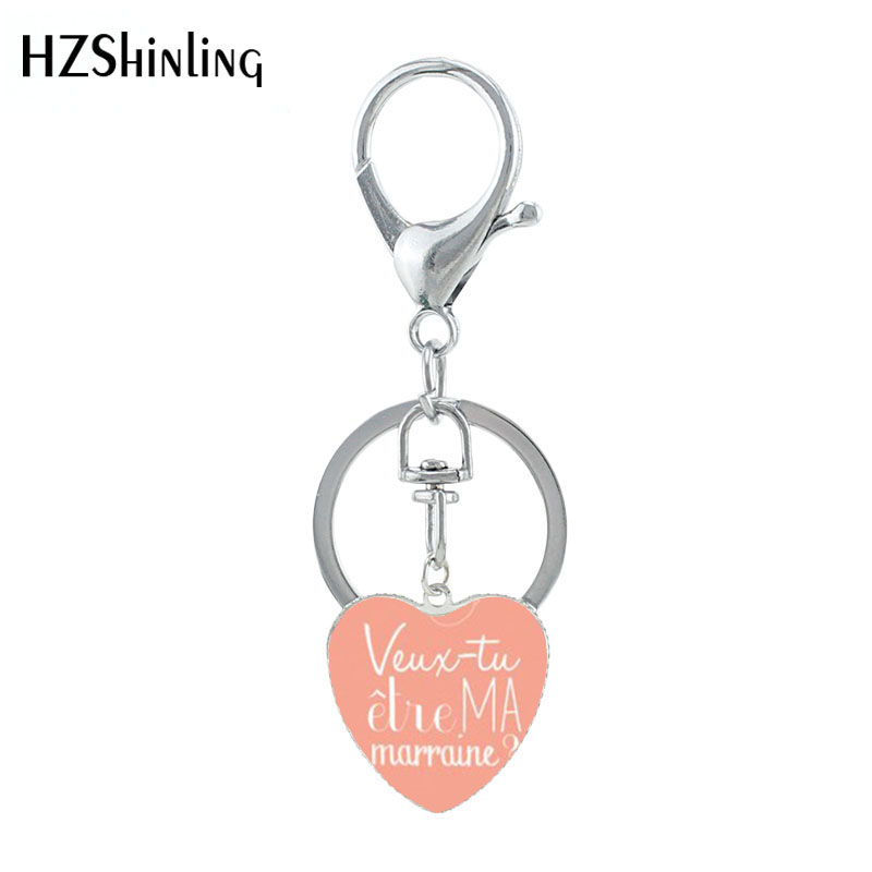 2019 New Veut Tu Etre Ma Marraine Heart Keychain Do You Want To Be My Godmother  Glass Pendant Keychains For Woman