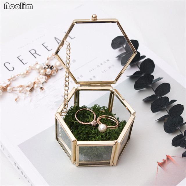 NOOLIM Glass Geometry Container Ring Box Makeup Organizer Jewelry Storage Box Everlasting Flower Micro Landscape Glass Cover