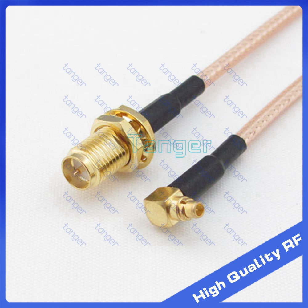 MMCX male right angle to RP-SMA female connector with 20cm 8in RG316 RG-316 RF Coaxial Pigtail Jumper Low Loss cable for Antenna extension cord n male to rp sma plug female pin rf connector coaxial adapter 50cm lmr400 pigtail jumper cable free shipping