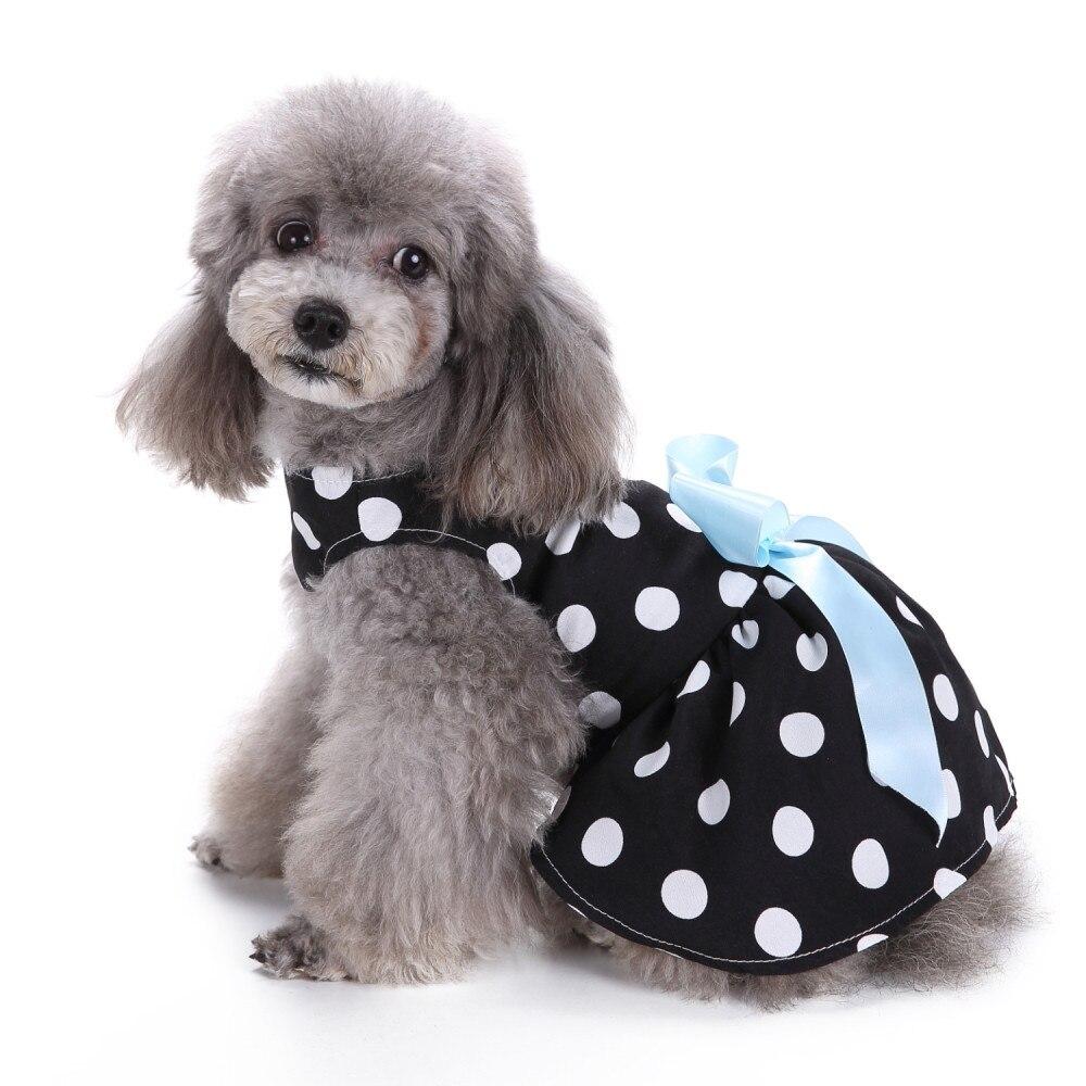 XS/S/M/L Cute Polka Dot Ribbon Sweet Style Dog Dress Dog Clothes Cozy Dog Shirt Pet Dress Unisex #02