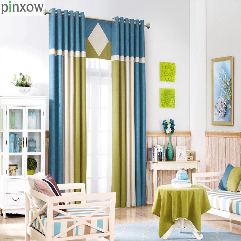 cortinas cortinas para la sala de estar moderna de lino azul slido mosaico natural de ajuste de la ventana de sombra verde casa