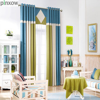 Modern Linen Curtains For Living Room Blue Solid Drapes Natural Patchwork Window Trim Green Shade Home Blinds For Bedroom Panels