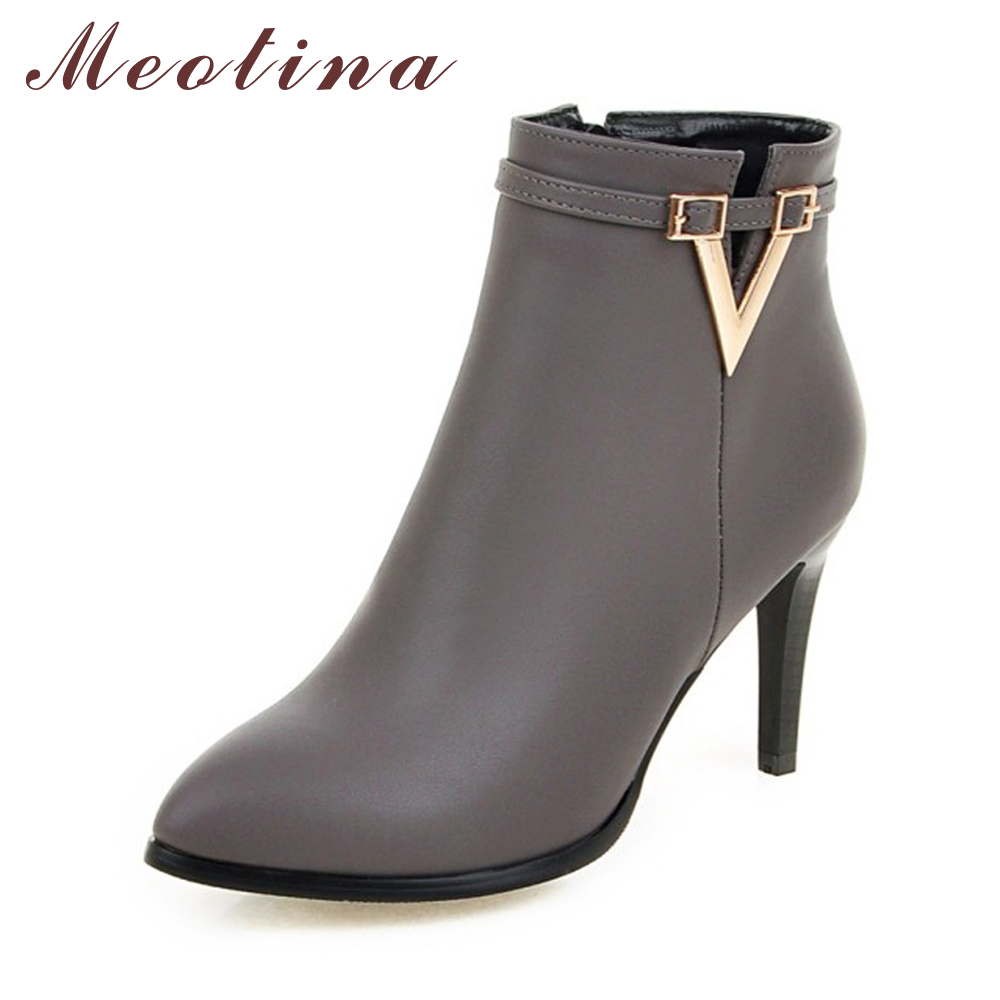 Meotina Women Shoes High Heel Ankle Boots Martin Boots Zip Fall Spring Pointed Toe High Heels Lady Shoes Gray Big Size 10 40 43 sexy women boots solid flock suede zip high heels boots lady stiletto pointed toe ankle boots martin boot red white black