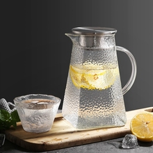 1000ml/1200ml/1500ML Transparent Glass Water Jug Heat Resistant Carafe Juice Tea Pot Kettle Pitcher With Stainless Steel Filter