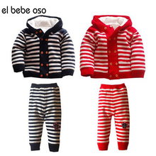 el bebe oso Children Sweater Baby Girls Clothing Set Thick Warm Kids Caual Winter Coat+Pants Fashion Style Boy Clothes Set XL53