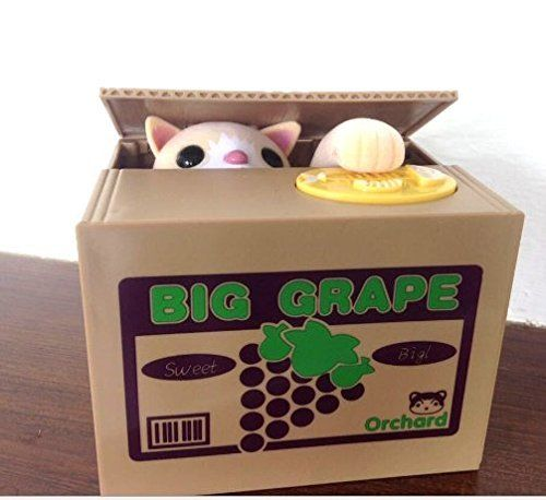 NEW Chatora Cat Itazura Automated Kitty Cat Steal Coin Piggy Bank savings box