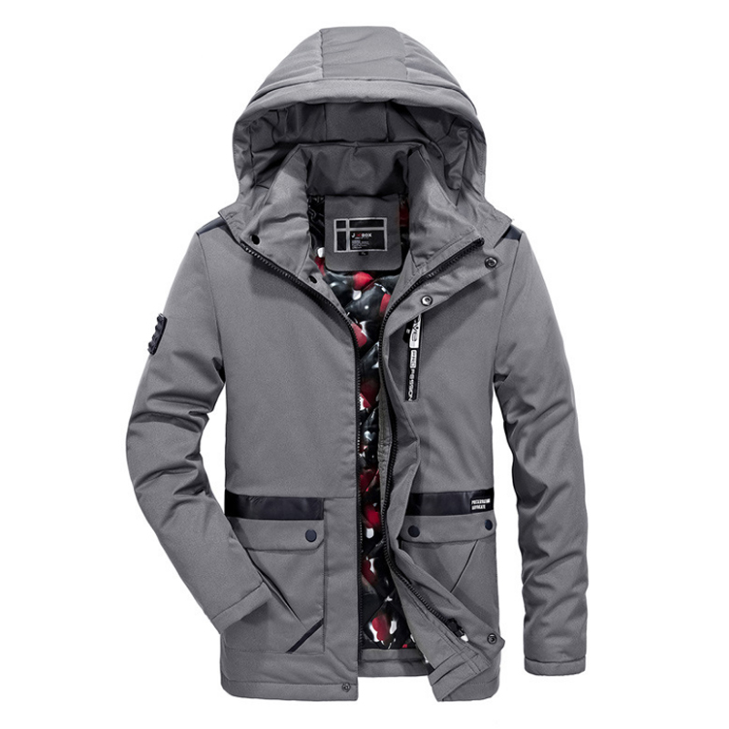 купить Winter Jacket For Men Cotton-Padding Quilted Stand Collar Warm Jacket Cotton Fleece Warm Winter Detachable Hooded Parkas For Men дешево
