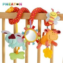 Spiral Activity Stroller Car Seat Baby Rattles Hanging Babyplay Travel Baby Toys Plush Animal Teether Cute