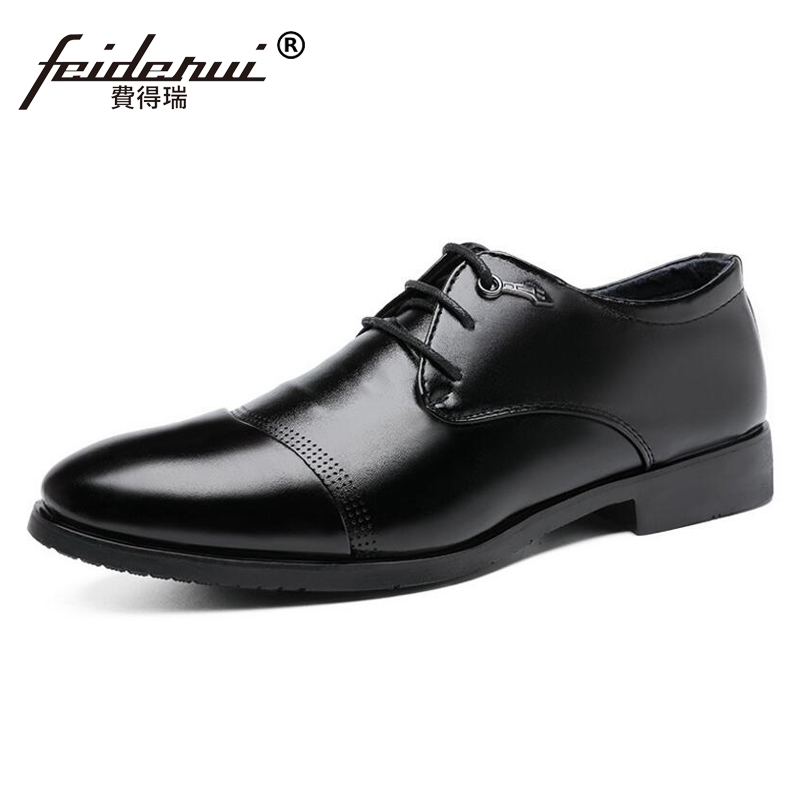 Big Size 37-48 Fashion Breathable Leather Mens Business Office Footwear Round Toe Lace up Formal Dress Man Derby Shoes CMS69