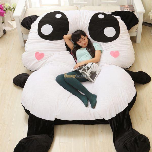 Fancytrader 210cm X 150cm Jumbo Lovely Soft Stuffed Panda Bed Carpet Sofa Tatami, Great Gift For Kids, Free Shipping FT50347 fancytrader 220cm x 150cm huge giant cute garfield bed carpet sofa tatami great gift free shipping ft90351