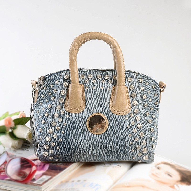 Nye Vintage Fashion bolsa feminina Diamanter Beading Denim Jeans Kvinder Top Handle Håndtasker Aftentasker Totes For Female