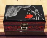 21 Cm Lotus Dragonfly Wooden Pingyao Lacquer Jewelry Box Cosmetic Box Retro Gift Box