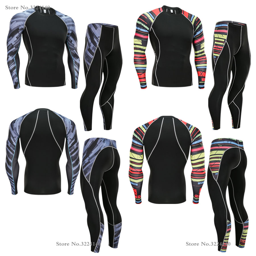 Rashguard Men MMA Clothing Compression Suit 2 Piece Tracksuit Men Thermal Underwear Base Layer Fitness Apparel 4xl