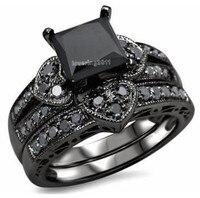 Victoria Wieck Princess Cut Black Topaz Simulated Diamond 10KT Black Gold Filled Bridal Engagement Wedding Ring