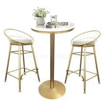 Простой журнальный столик и стул с высокой стопой, круглый небольшой барный стол для отдыха, домашний балкон, чайный магазин, высокий стул, комбинация